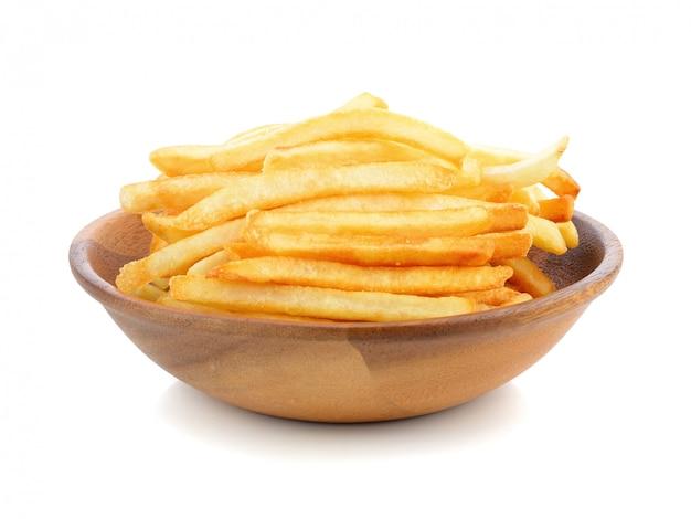 Appetitanregende pommes-frites auf einem weiß