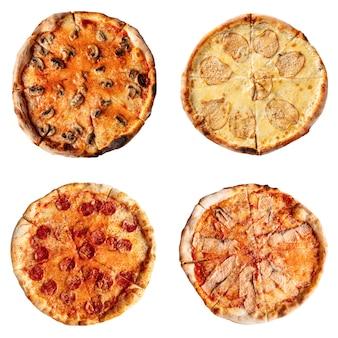 Appetitanregende reihe von verschiedenen pizzen isoliert