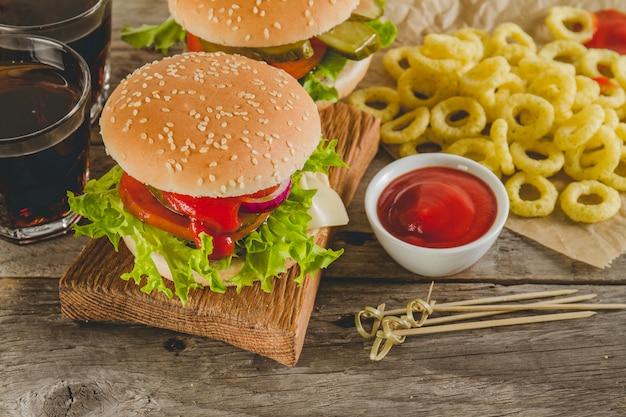 Appetitliche fast-food-menü