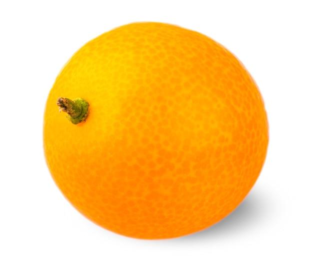 Appetitliche kumquat auf weißem hintergrund geschnitzt.