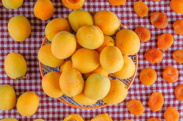 Aprikosen mit getrockneten aprikosen in einem teller auf picknicktuch, flach liegen.