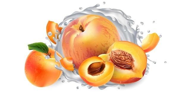 Aprikosen und pfirsiche und ein schuss milch oder joghurt. Premium Fotos