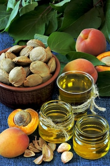 Aprikosenkernöl. aprikosenölgewinnungskonzept. gesunde ernährung.