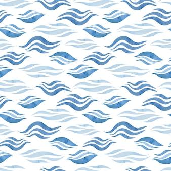 Aquarell abstraktes nahtloses muster mit blauen wellen. handgezeichneter meer- oder ozeanhintergrund.