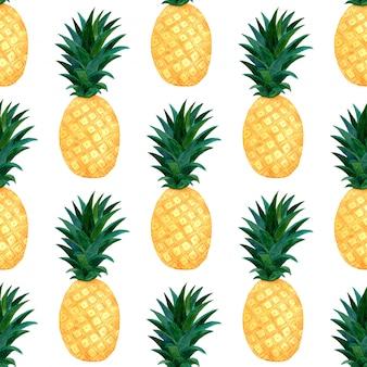 Aquarell ananas muster. nahtlose beschaffenheit der handfarbe mit ananas