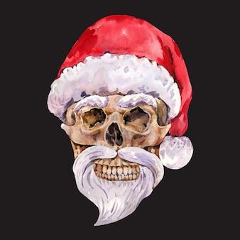 Aquarell bad santa weihnachten. weinleseschädelillustrations-grußkarte auf schwarz