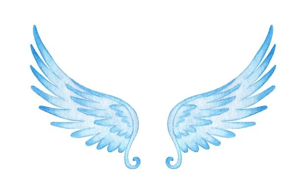 Aquarell blaue engelsflügelillustration