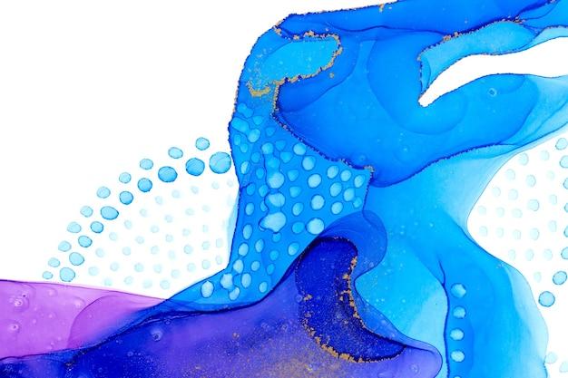 Aquarell blaue punkte und flecken auf weißem hintergrund Premium Fotos