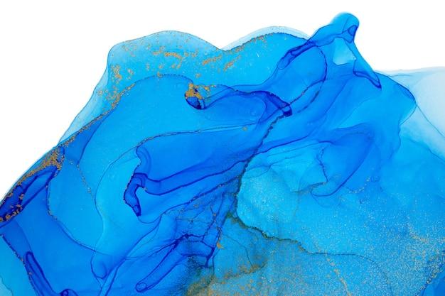 Aquarell blauer und goldener grafikhintergrund