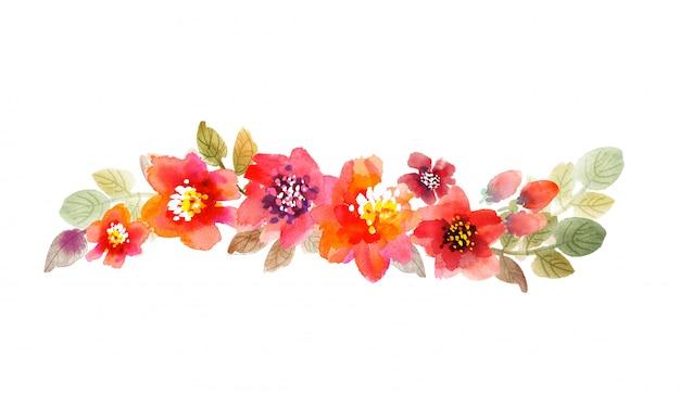 Aquarell blüht abbildung. hand gezeichnete rosa und rote sommerblumen