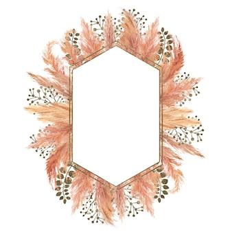 Aquarell boho bouquet mit getrocknetem pampasgras und silbernem geometrischem rahmen auf isoliert auf weißem hintergrund. blumenillustration für hochzeits- oder feiertagsgestaltung von einladungen, postkarten, druck