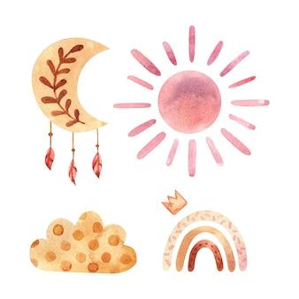 Aquarell-boho-clipart für kinderzimmerdekoration mit niedlichen regenbögen und mondsonnenwolken-doodle-handgezeichnete illustration