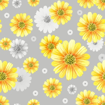 Aquarell chrysanthemen. gelbe blumen auf einem grauen hintergrund.
