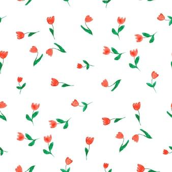 Aquarell doodle tulpen nahtloses muster