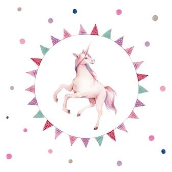 Aquarell-einhorn im kranz der flaggengirlanden. handgemalte märchenillustration mit fantasietier, tupfen und partydekor auf weißem hintergrund. cartoon baby kunst