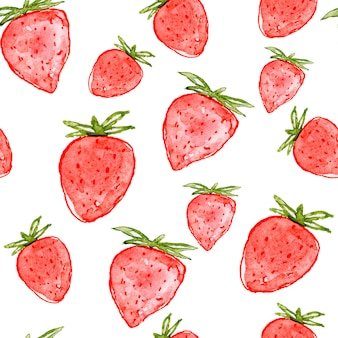 Aquarell erdbeer nahtlose muster.