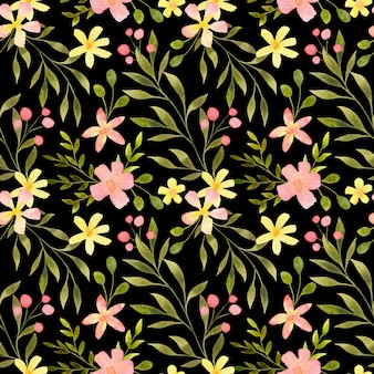 Aquarell florales nahtloses muster handgezeichneter zarter botanischer wiederholungsdruck auf schwarz