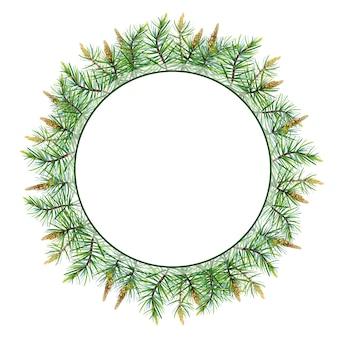 Aquarell-frohe weihnacht-kranz mit kiefer, fichte.