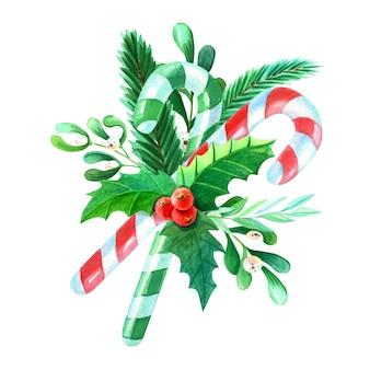 Aquarell frohe weihnachten blumenstrauß mit holly