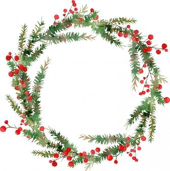 Aquarell frohe weihnachten kranz
