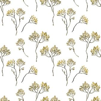 Aquarell gelb gesäte zweige nahtlose muster auf weißem hintergrund