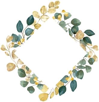 Aquarell goldene und grüne zweige quadratischer rahmen auf weißem hintergrund