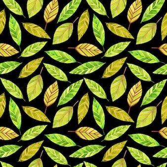 Aquarell grüne abstrakte blätter auf schwarzem hintergrund nahtloses muster botanischer wiederholungsdruck