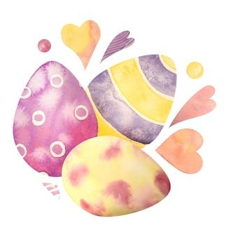 Aquarell hand gezeichnete zusammensetzung mit eiern des glücklichen osters. isoliert auf einem weißen. so erstellen sie ihr einzigartiges design.
