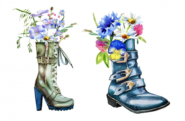 Aquarell handbedruckte stiefel mit feldblumenstrauß lokalisiert auf einer weißen wand. hand gezeichnete stiefel und blumen clipart-set. frühling design.