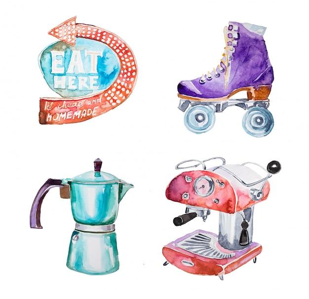 Aquarell handbemalt retro-clipart-set. retro- loller scates, weinlesekaffeemaschine, retro- seufzerillustration lokalisiert.