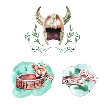 Aquarell handbemalte wikinger ringe und helm