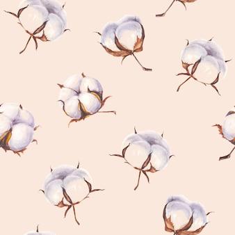 Aquarell handgemalte baumwollblumen nahtlose muster auf hellrosa hintergrund