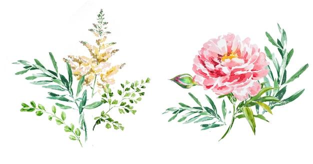 Aquarell handgemalte frühlingsblumensträuße clipart-set.