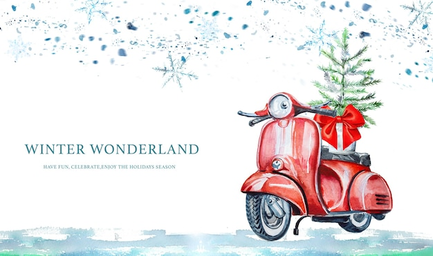 Aquarell handgemalter roller mit weihnachtsbaumfahne.