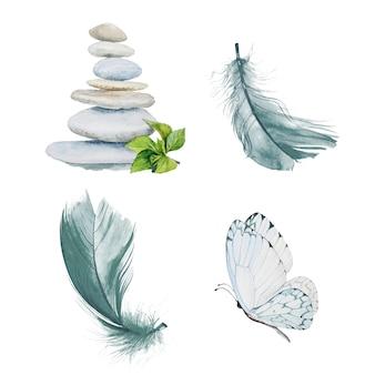 Aquarell handgemaltes zen clipart set.