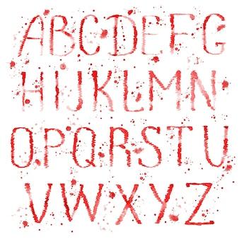 Aquarell handgezeichnete buchstaben des englischen alphabets mit spritzern auf weißem hintergrund.