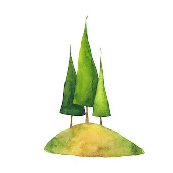 Aquarell handgezeichnete grüne bäume auf der hügelillustration. dreieckige drei fichten am berg auf weißem hintergrund.
