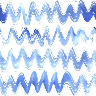 Aquarell handgezeichnete grunge wellig gestreiftes nahtloses muster. blaue streifen auf weißem hintergrund.