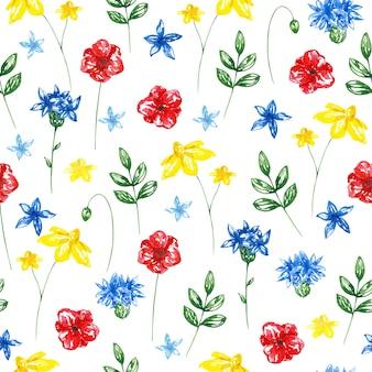 Aquarell handgezeichnete helle nahtlose wildblumenmuster auf weißem hintergrund. bunter botanischer druck für textilien, stoffe, geschenkpapier, tapeten, design und dekoration. blumenornament.
