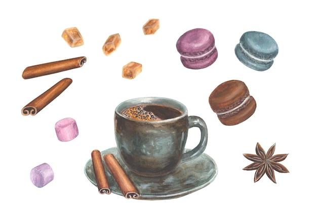 Aquarell handgezeichnete illustration mit kaffee-design-elementen - eine tasse kaffee, zimt, anis, makronen, marshmallow und zuckerkristalle, isoliert auf einer weißen oberfläche