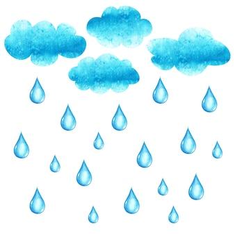 Aquarell handgezeichnete illustration mit wolken und regentropfen