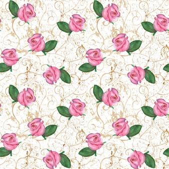 Aquarell handgezeichnete orientalische nahtlose muster mit rosa rosenknospen auf altem grunge-hintergrund. mode-, stoff-, bettwäsche- und verpackungskonzepte