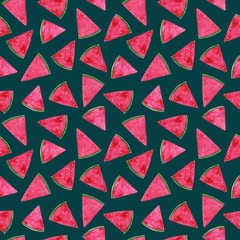 Aquarell handgezeichnete wassermelone nahtlose muster auf blauem hintergrund. hellrosa melonenstücke drucken. süße saftige ornamente für textilien, stoffe, tapeten, geschenkpapier, design und dekoration.