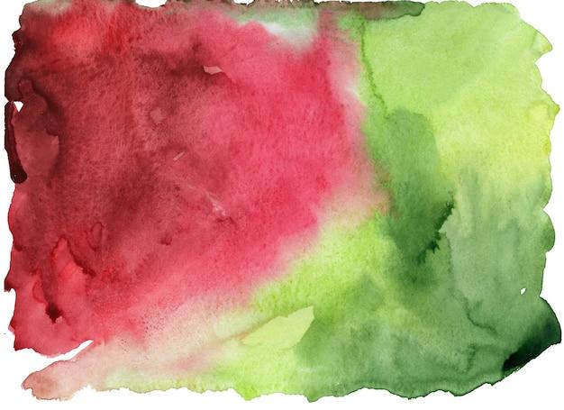Aquarell handgezeichneter rosa und grüner abstrakter hintergrund. farbspritzer zeichnen. wassermelone färbt malerei.