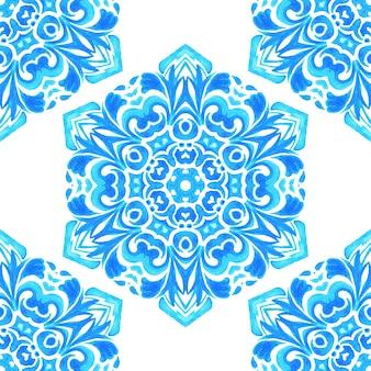 Aquarell handgezeichnetes nahtloses blaues geometrisches schneeflockenmuster