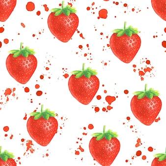 Aquarell handgezeichnetes nahtloses muster mit roten spritzern und erdbeere auf weißem hintergrund.