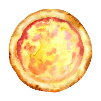 Aquarell hausgemachte pizza mit dicker kruste