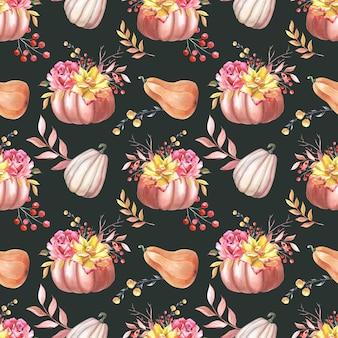 Aquarell herbst kürbisroseblätter auf dunklem hintergrund nahtloses muster mit gemüse