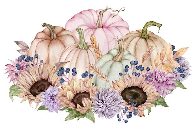 Aquarell-herbstblumen, sonnenblumen, herbstblätter, beeren im kürbis. wunderschönes blumen- und kürbisarrangement.