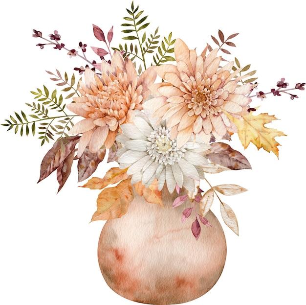 Aquarell herbstblumenstrauß in einem keramikkrug mit herbstblättern und blumen auf dem weißen hintergrund.